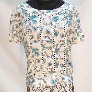 HINGE embroidered scoop neck top Large
